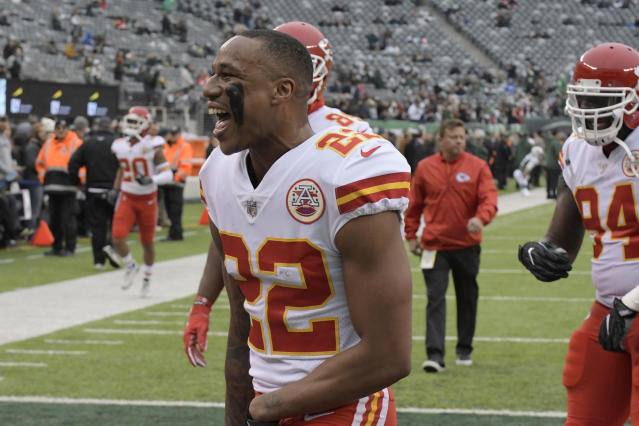Chiefs cornerback Marcus Peters was (not) ejected from Sunday's game against the Jets. (AP)