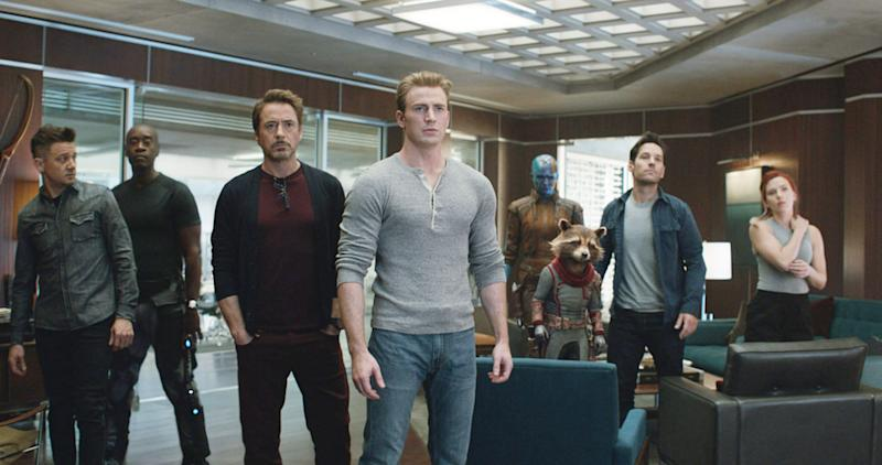 Jeremy Renner, Don Cheadle), Robert Downey Jr., Chris Evans,]Karen Gillan, Paul Rudd and Scarlett Johansson in 'Avengers: Endgame' (Film frame/Marvel Studios/Everett Collection)