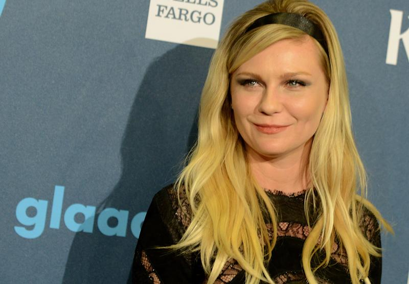 Kirsten Dunst arrives at the 24th Annual GLAAD Media Awards at the JW Marriott on Saturday, April 20, 2013 in Los Angeles. (Photo by Jordan Strauss/Invision/AP)