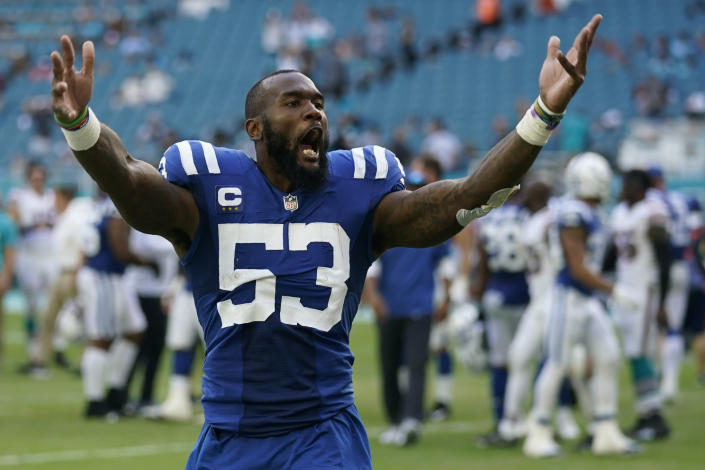 Indianapolis Colts outside linebacker Darius Leonard (53) celebrates the Colts victory over the Miami Dolphins, at the end of an NFL football game, Sunday, Oct. 3, 2021, in Miami Gardens, Fla. (AP Photo/Lynne Sladky)