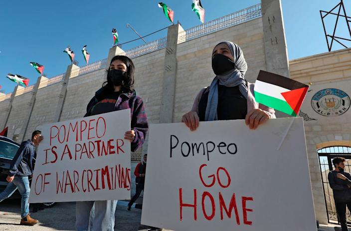 Mike Pompeo Israel Palestinians West Bank