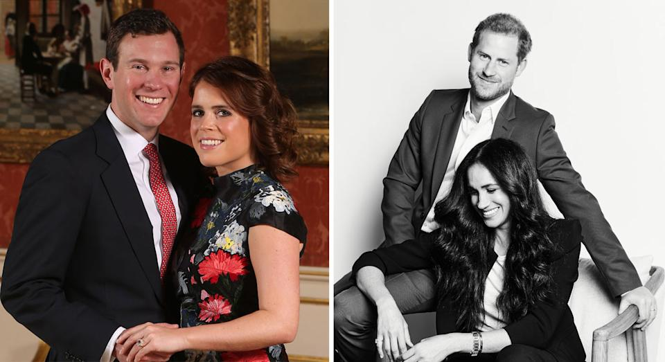 The couples have a private arrangement for Eugenie and Jack to rent the Sussexes home. (Getty/Time)
