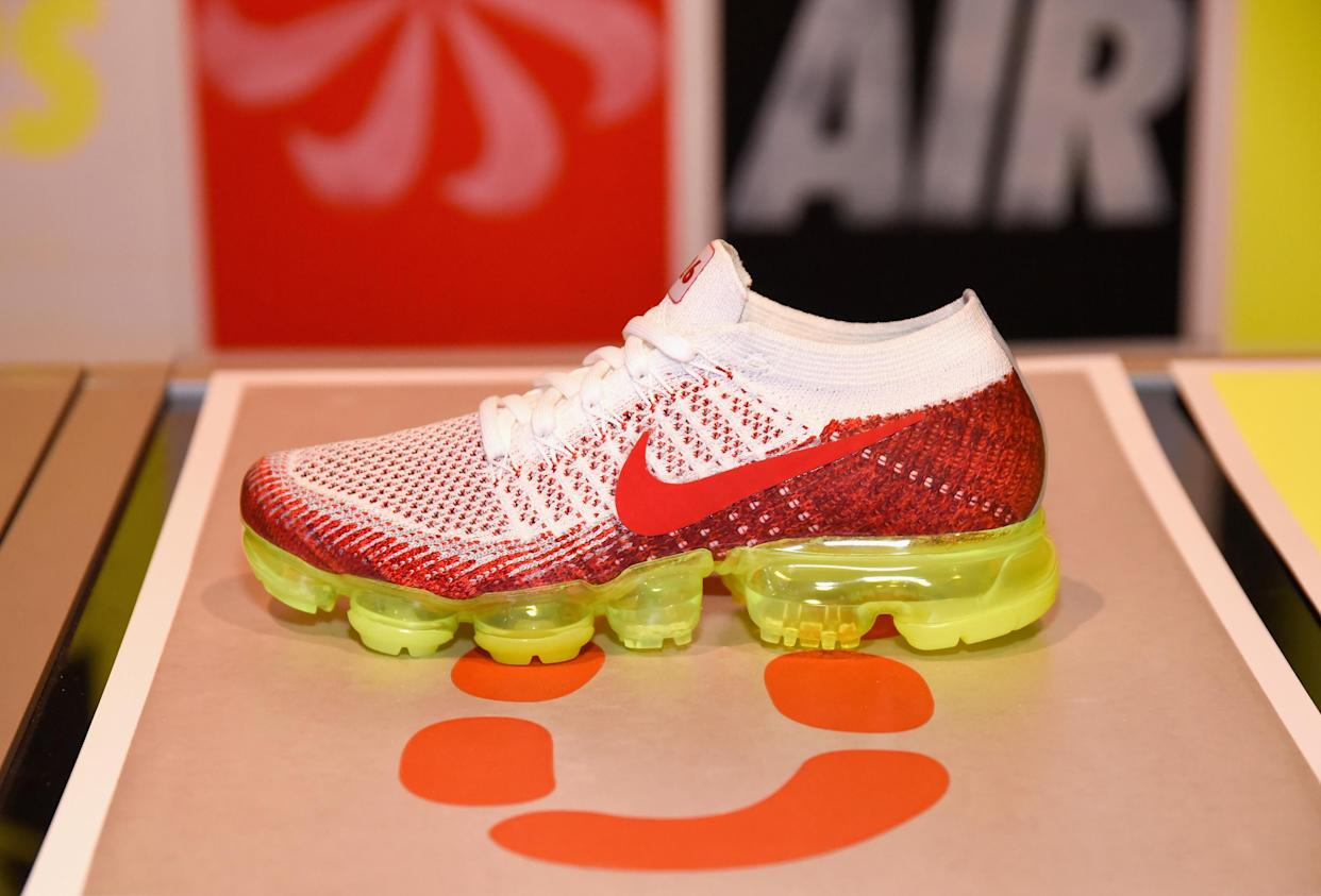 LOS ANGELES, CA - MARCH 22: View of a Nike VaporMax sneaker at the Nike Air SNEAKEASY LA launch party on March 22, 2017 in Los Angeles, California. (Photo by Tara Ziemba/Getty Images)