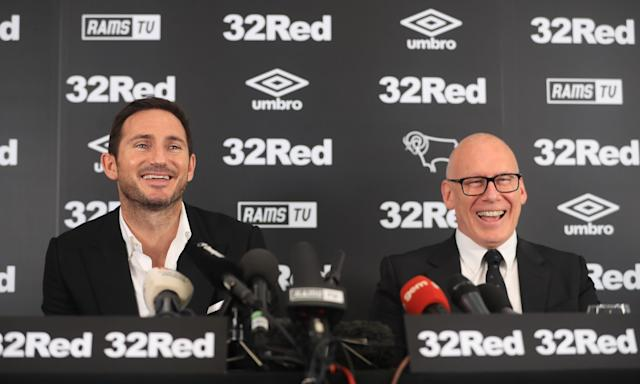 New Derby County manager Frank Lampard and owner Melvyn Morris (right).