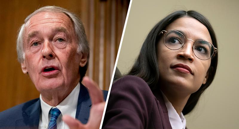 Sen. Ed Markey, D-Mass. and Rep. Alexandria Ocasio-Cortez, D-N.Y.( Photos: Andrew Harnik, AP, J. Scott Applewhite/AP)