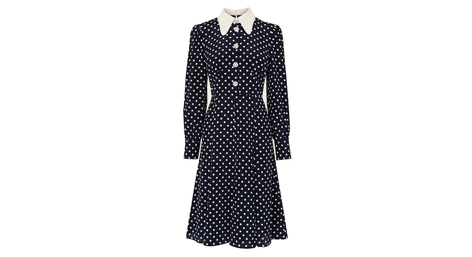 Mathilde Navy & Cream Polka Dot Silk Tea Dress