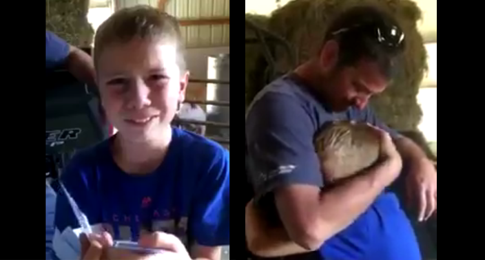 Kolt Kyler, 9, surprised with Cubs tickets by his father Andy. (@HannahHimes)
