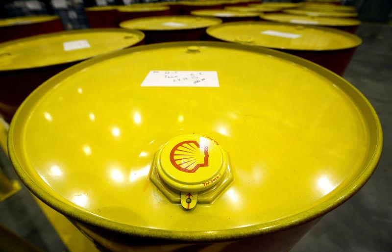 FILE PHOTO:Filled oil drums are seen at Royal Dutch Shell Plc's lubricants blending plant in the town of Torzhok
