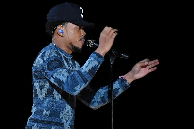 Chance the Rapper, shown performing during the Grammy Awards, has donated $1 million to Chicago's schools
