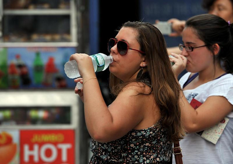 People drink water near hot dog vendors on Fifth Avenue on July 19, 2013 in New York during a heatwave in the northeast