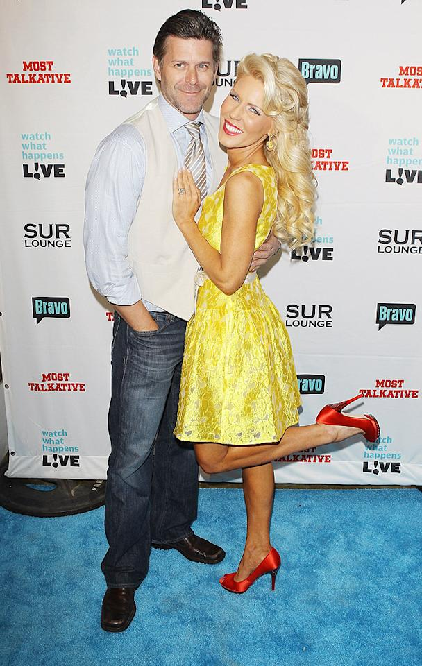 "The most controversial couple of ""The Real Housewives of Orange County,""  Gretchen Rossi and Slade Smiley, worked the blue carpet. In last week's  episode, he wanted to propose, but she didn't want to wed ... and now  she's showing off a huge rock. (5/14/2012)"