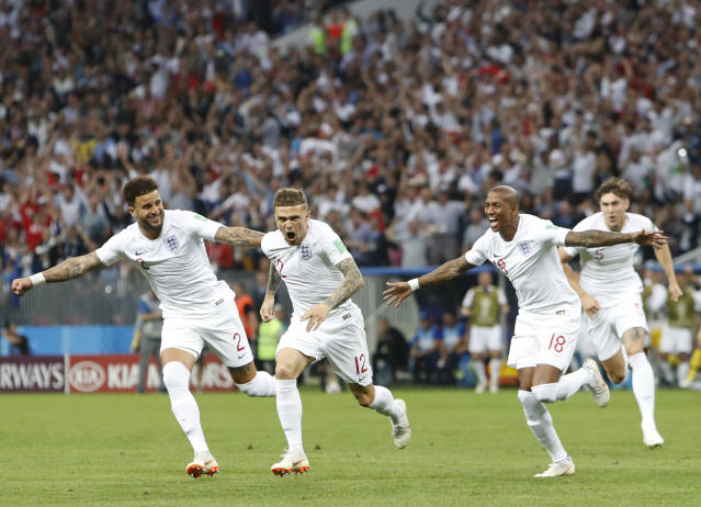 <p>Kieran Trippier of England celebrates after scoring his team's first goal during the 2018 FIFA World Cup Russia Semi Final match between England and Croatia at Luzhniki Stadium on July 11, 2018 in Moscow, Russia. (Photo by Shaun Botterill/Getty Images) </p>