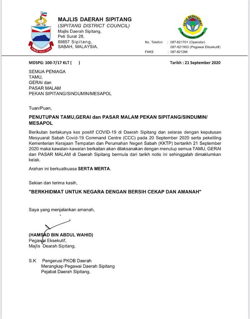 Notice from the Sipitang District Council