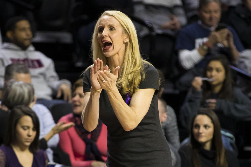 FILE - Connecticut assistant coach Shea Ralph reacts during the second half of an NCAA college basketball game against Temple in Philadelphia, in this Saturday, Jan. 19, 2019, file photo. Vanderbilt has hired Shea Ralph away from UConn to help revive the Commodores' struggling women's basketball program. Athletic director Candice Lee announced the hiring Tuesday morning, April 13, 2021, a week after firing Stephanie White. (AP Photo/Chris Szagola, File)