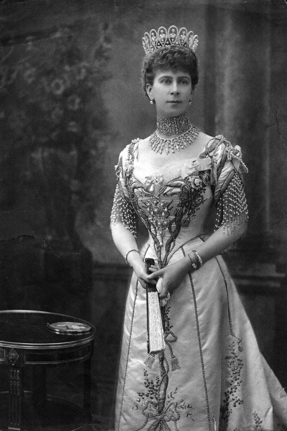 "<p>In recent decades, collars have fallen out of favor with the royals, who've preferred to don other necklace styles—and that's a shame, because jewels like the Love Trophy Collar are simply stunning. This piece was made for Queen Mary in 1901 by Garrard, according to the <a href=""http://www.thecourtjeweller.com/2014/05/queen-marys-love-trophy-collar.html"" rel=""nofollow noopener"" target=""_blank"" data-ylk=""slk:Court Jeweller"" class=""link rapid-noclick-resp"">Court Jeweller</a>, and used diamonds owned by Mary's grandmothe (Princess Augusta of Hesse-Kassel) and her aunt (Princess Augusta of Cambridge), that were then set in gold. </p>"