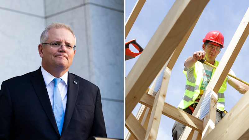 Scott Morrison appears on the left. He is frowning. On the right, a builder is building a home. He can be seen through wooden scaffolding.