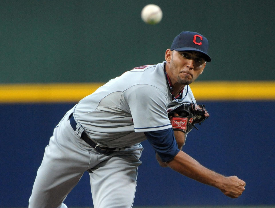 Cleveland Indians pitcher Danny Salazar delivers to the Atlanta Braves during the first inning of a baseball game at Turner Field, Tuesday, Aug. 27, 2013, in Atlanta. (AP Photo/David Tulis)