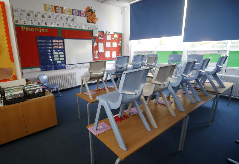 An empty classroom at Manor Park School and Nursery in Knutsford, Cheshire, the day after Prime Minister Boris Johnson put the UK in lockdown to help curb the spread of the coronavirus. (Photo by Martin Rickett/PA Images via Getty Images)