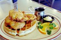 """<p><a href=""""https://www.yelp.com/biz/bannings-restaurant-and-pie-house-portland"""" rel=""""nofollow noopener"""" target=""""_blank"""" data-ylk=""""slk:Bannings Restaurant & Pie House"""" class=""""link rapid-noclick-resp"""">Bannings Restaurant & Pie House</a> in Portland</p><p>Portland residents fill up on chicken and waffles, loaded hash browns, waffles and breakfast burrito at this local eatery. The rotating case contains some of the state's best cakes and pies, in offbeat flavors like marionberry and poppyseed.</p>"""