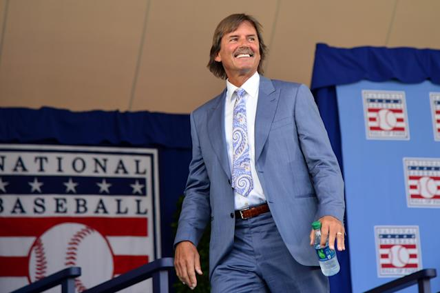 Hall of Famer Dennis Eckersley takes the stage during the Induction Ceremony at the National Baseball of Hall of Fame. (Photo by Jennifer Stewart/Arizona Diamondbacks/Getty Images)