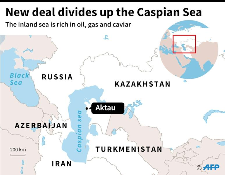 A map of the Caspian Sea locating Aktau, in Kazakhstan, where a deal was signed Sunday by surrounding countries which ends decades of dispute over the inland sea rich in oil, gas and caviar. (AFP Photo/Valentina BRESCHI)