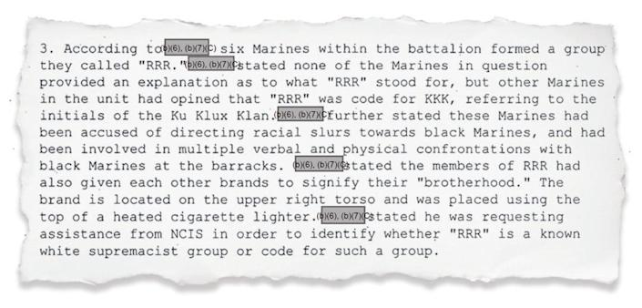 The Naval Criminal Intelligence Service investigated an alleged white supremacist gang called the