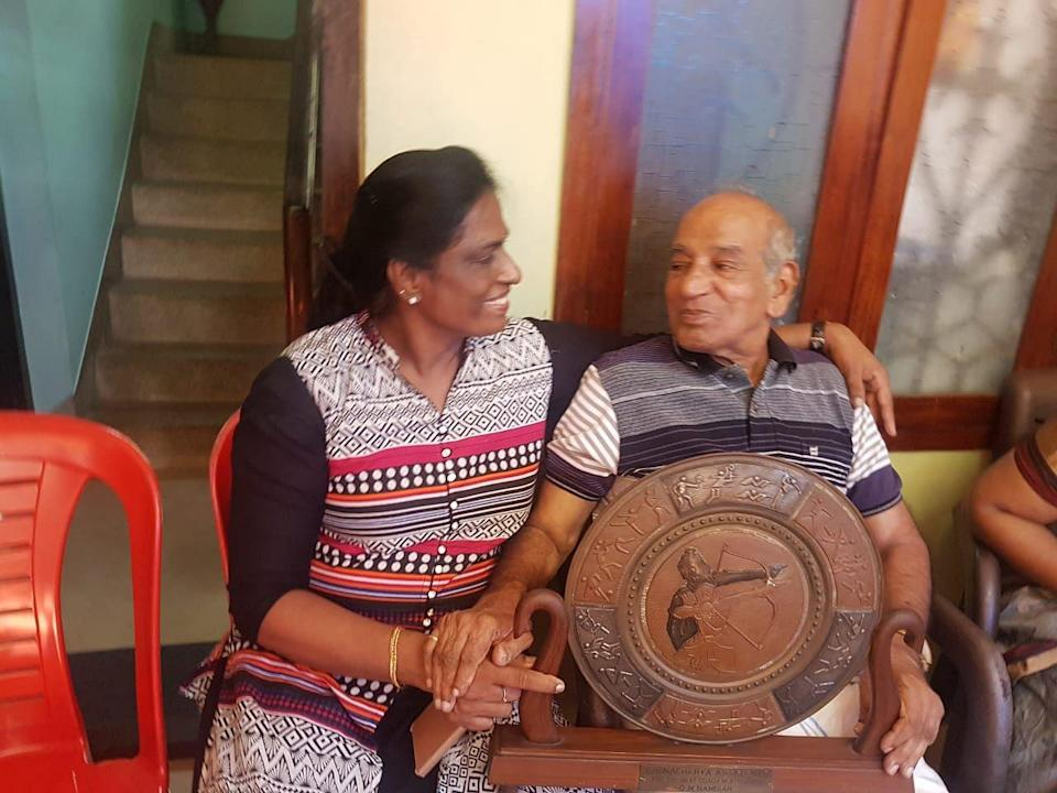 File picture of PT Usha with her coach OM Nambiar.