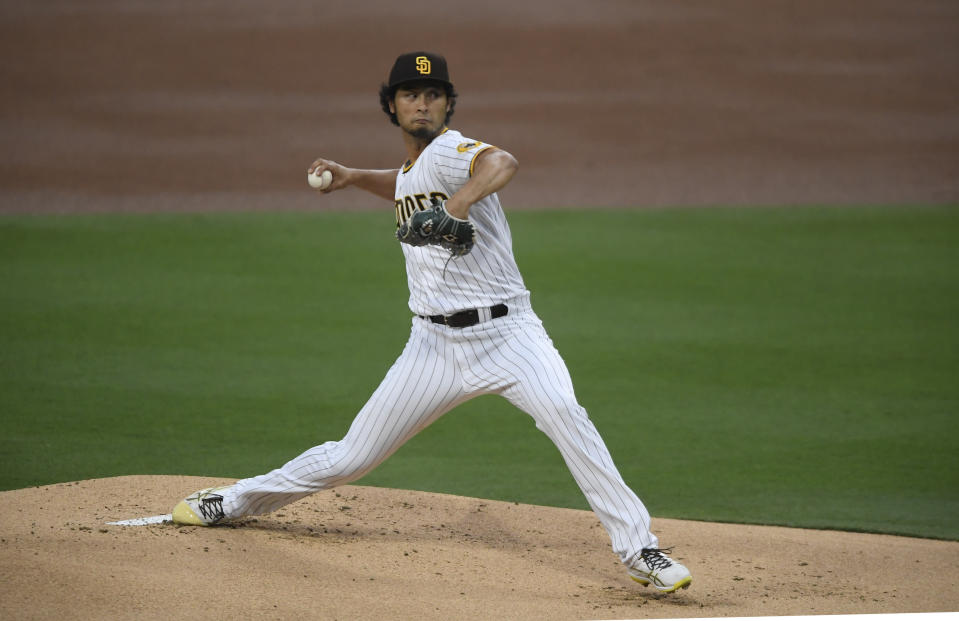 San Diego Padres starting pitcher Yu Darvish delivers during the first inning of a baseball game against the Colorado Rockies, Monday, May 17, 2021, in San Diego. (AP Photo/Denis Poroy)