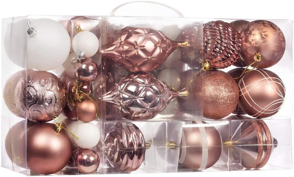 <p>Love the look of vintage Christmas ornaments? These <span>70-Pcs Rose Gold Christmas Ball Ornaments</span> ($38) have that classic feel. </p>