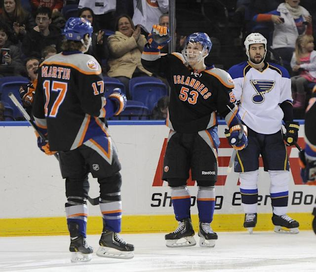New York Islanders' Matt Martin (17) and Casey Cizikas (53) celebrates Martin's goal as St. Louis Blues' Roman Polak (46) reacts in the second period of an NHL hockey game on Saturday, Jan. 25, 2014, in Uniondale, N.Y. (AP Photo/Kathy Kmonicek)