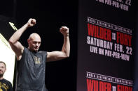 Tyson Fury, of England, attends a weigh-in for his WBC heavyweight championship boxing match against Deontay Wilder, Friday, Feb. 21, 2020, in Las Vegas. (AP Photo/Isaac Brekken)