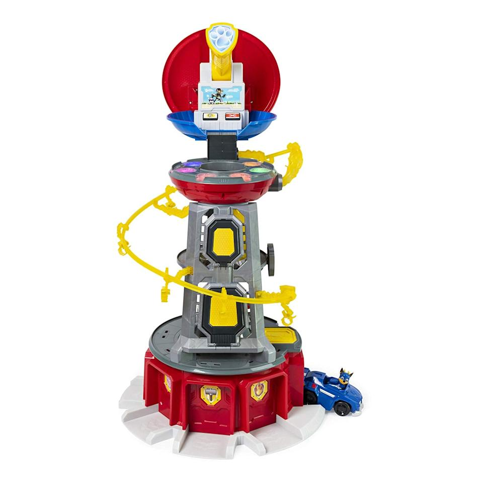 """<p>The <a href=""""https://www.popsugar.com/buy/Paw-Patrol-Mighty-Lookout-Tower-486759?p_name=Paw%20Patrol%20Mighty%20Lookout%20Tower&retailer=target.com&pid=486759&price=100&evar1=moms%3Aus&evar9=46571794&evar98=https%3A%2F%2Fwww.popsugar.com%2Fphoto-gallery%2F46571794%2Fimage%2F46571795%2FPaw-Patrol-Super-Mighty-Pups-Lookout-Tower&list1=shopping%2Ctarget%2Ctoys%2Cgift%20guide%2Cparenting%20gift%20guide%2Ctoy%20fair%2Ckid%20shopping%2Ckids%20toys%2Cbest%20of%202019&prop13=api&pdata=1"""" rel=""""nofollow"""" data-shoppable-link=""""1"""" target=""""_blank"""" class=""""ga-track"""" data-ga-category=""""Related"""" data-ga-label=""""https://www.target.com/p/paw-patrol-super-mighty-pups-lookout-tower-chase/-/A-76151335"""" data-ga-action=""""In-Line Links"""">Paw Patrol Mighty Lookout Tower</a> ($100) helps get the pups ready to save the day with its rotating elevator, transforming telescope, vehicle launcher, zip line, and fun lights and sounds.</p>"""