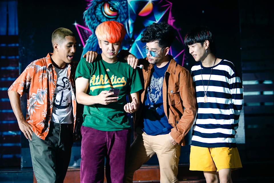 From left to right: Pittawat Pruksakit as Tee, Kyutae Sim as Sim, Issara Kitnitchi as Kid, and Khunnaphat Pichetworawut as Tuek in Game Changer. (Photo: Golden Village Pictures)