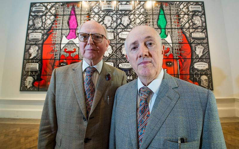 Although two separate people, Italian-born Gilbert Prousch, 73, and George Passmore, 75, from Devon, will have a just a single vote on matters before the RA. Image Caption: - Evening Standard / eyevine