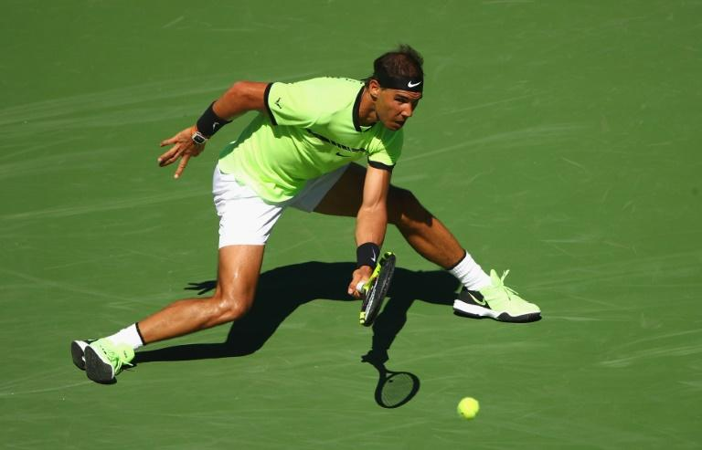 Rafael Nadal of Spain plays a forehand against Guido Pella of Argentina during their BNP Paribas Open second round match, at Indian Wells Tennis Garden in California, on March 12, 2017