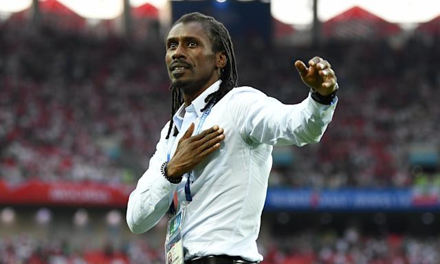 Senegal's manager, Aliou Cissé, a player when they reached the quarter-finals in 2002, celebrates Tuesday's 2-1 win over Poland.
