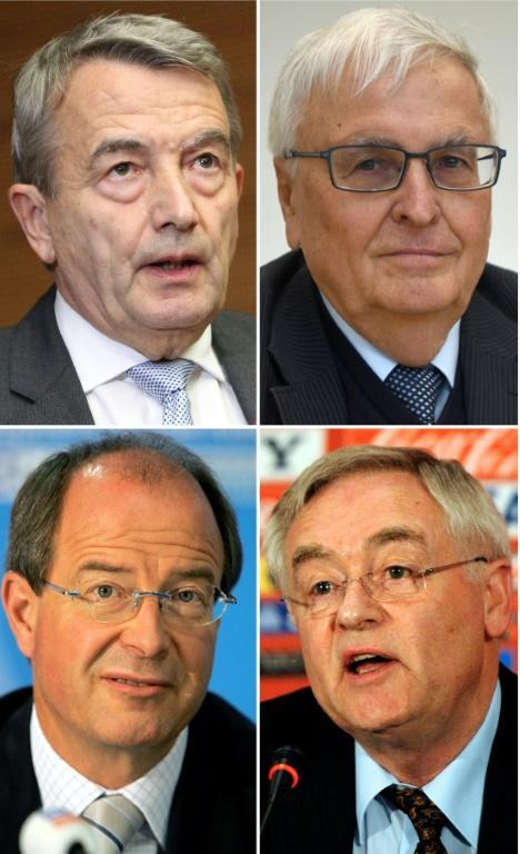 The four accused: (from top L clockwise) Wolfgang Niersbach, Theo Zwanziger Horst Schmidt, Urs Linsi (AFP Photo/DANIEL ROLAND, PATRIK STOLLARZ, JOHN MACDOUGALL, STEPHANE DE SAKUTIN)