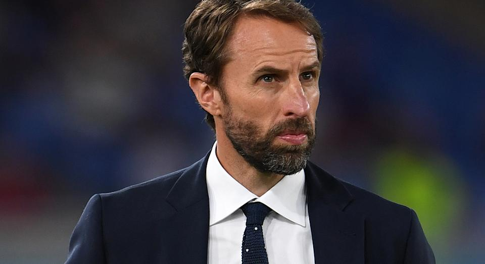 England football manager Gareth Southgate is fast becoming a trendsetter - first waist coats and now printed ties.  (Getty Images)