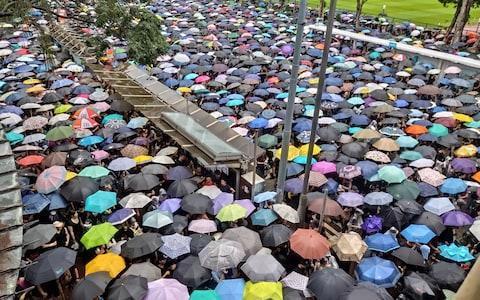 HONG KONG, CHINA - AUGUST 18: Thousands of demonstrators gather at Victoria Park area during a protest organized by the Civil Human Rights Front, in Hong Kong, China - Credit: Anadolu Agency