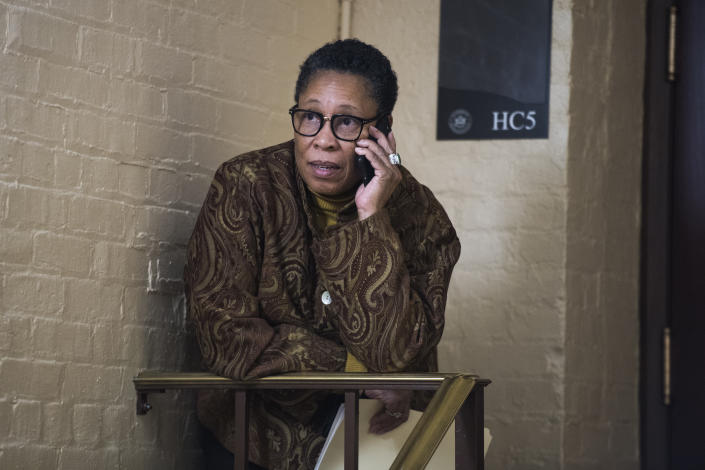Rep. Marcia Fudge, D-Ohio, is seen outside a Whip meeting with House Democrats in the Capitol on Jan. 17, 2019. (Photo: Tom Williams/CQ Roll Call/Getty Images)