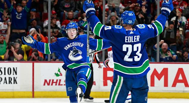 "Why are the Canucks letting <a class=""link rapid-noclick-resp"" href=""/nhl/players/6765/"" data-ylk=""slk:Brock Boeser"">Brock Boeser</a> play through a potentially serious injury? (Photo by Jeff Vinnick/NHLI via Getty Images)"
