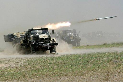 A rocket is fired during military exercises in Khujand, Tajikistan