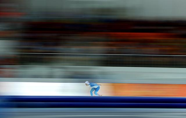 SOCHI, RUSSIA - FEBRUARY 12: Tommi Pulli of Finland competes competes in the Speed Skating Men's 1000m during day five of the Sochi 2014 Winter Olympics at Adler Arena Skating Center on February 12, 2014 in Sochi, Russia. (Photo by Robert Cianflone/Getty Images)