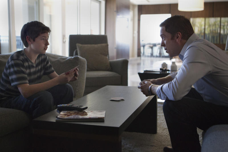 "Jackson Pace as Chris Brody and Damian Lewis as Nicholas ""Nick"" Brody in the ""Homeland"" Season 2 episode, ""Broken Hearts."""