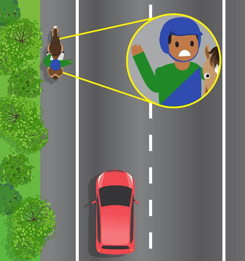 A graphic shows a horse rider signalling to a car coming up behind them.