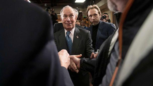 PHOTO: Democratic presidential candidate former New York City Mayor Michael Bloomberg greets supporters during a campaign event, Jan. 27, 2020, in Burlington, Vt. (Mary Altaffer/AP)