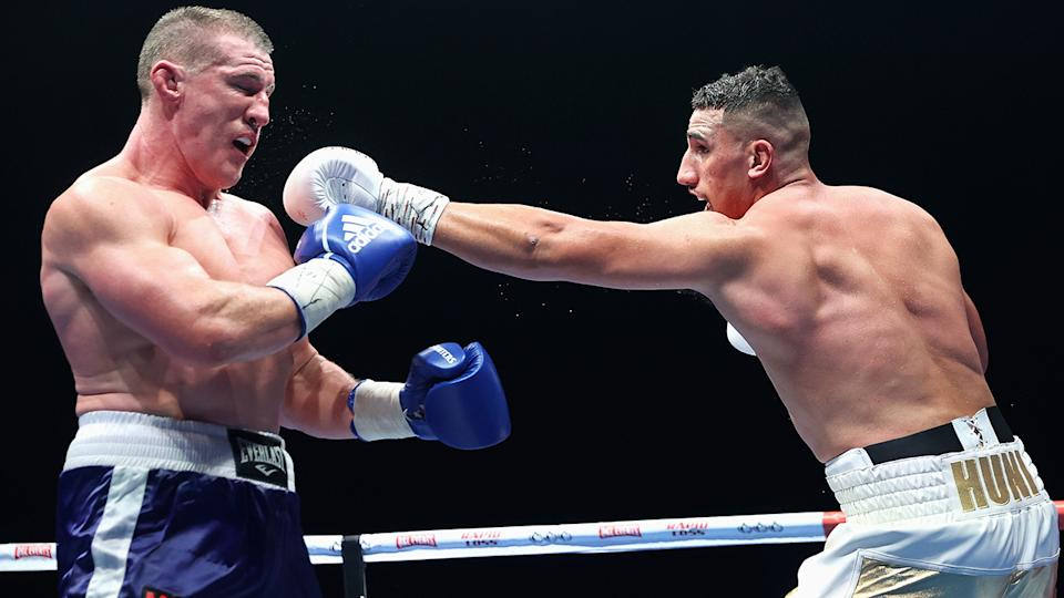 Justis Huni defeated Paul Gallen in the 10th round of their heavyweight bout on Wednesday night. (Photo by Cameron Spencer/Getty Images)