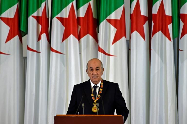 Algerian President Abdelmadjid Tebboune gives an address during the formal swearing-in ceremony in the capital Algiers on December 19, 2019