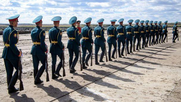 PHOTO: Russian honor guards are seen during the Vostok-2018 military drills at Tsugol training ground not far from the borders with China and Mongolia in Siberia, Sept. 13, 2018. (Mladen Antonov/AFP/Getty Images)