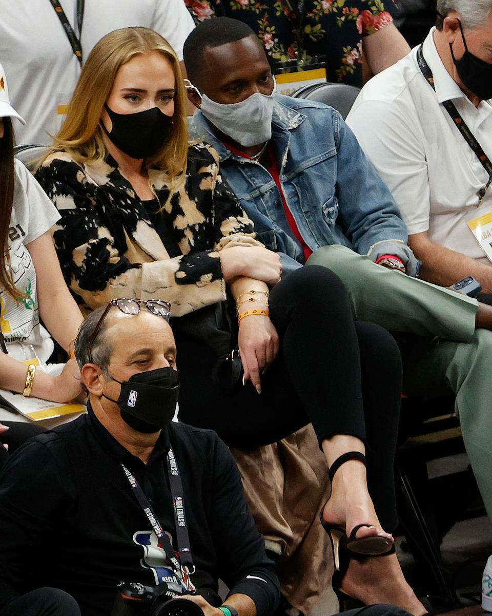 Adele and Paul Rich at the NBA finals